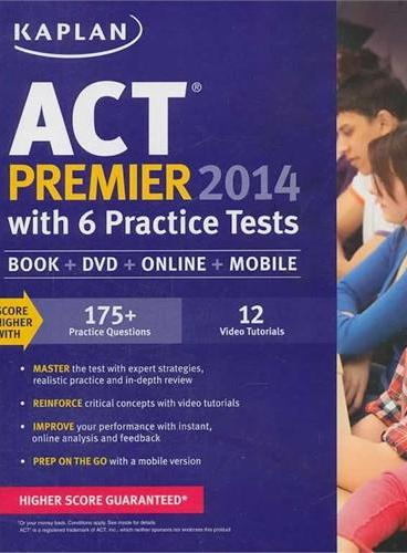 KAPLAN ACT 2014 PREMIER WITH 6 PRACTICE TESTS