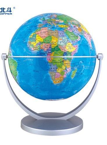 地球仪(直径14厘米、政区、银色U型水平万向旋转支架,赠送《地球仪小辞典》