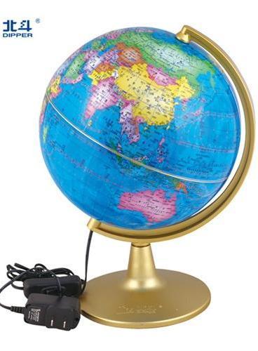 地球仪(直径21厘米、政区、经典金色弓型支架、LED灯光、交流电源,赠送《地球仪小辞典》