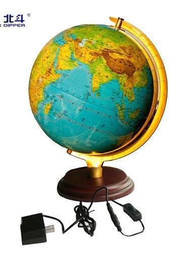 地球仪(32cm地形·政区版 金色弓形支架 LED灯光)