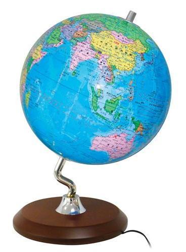 地球仪(22.8cm灯光政区版·S字形镀银金属支架·木质底座)