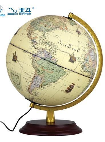地球仪(22.8cm灯光仿古球 哑光木底座)
