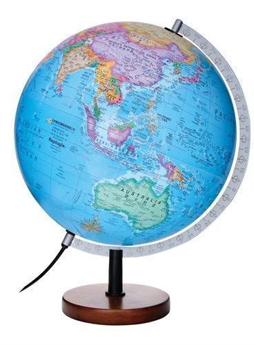博目地球仪·贝斯马克:30cm中英文政区灯光立体地球仪(根据美国专业测绘高程数据计算生成全球立体地形;内置LED灯;精准刻度标尺;实木底座)