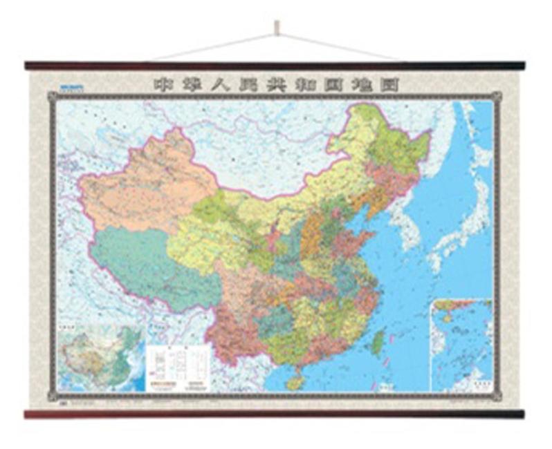 中国地图挂图(小四全1.8米*1.3米 无拼缝专业挂图 精美仿木杆)