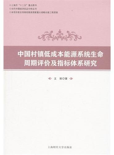 中国村镇低成本能源系统生命周期评价及指标体系研究