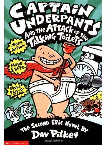 Captain Underpants #2:Captain Underpants and the Attack of the Talking Toilets 内裤超人2: 内裤超人大战吃人马桶(平装) ISBN9780590634274