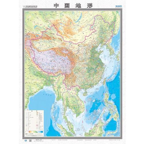 国家版图系列挂图-中华人民共和国和地形图(双全开 无拼缝膜图)盒装