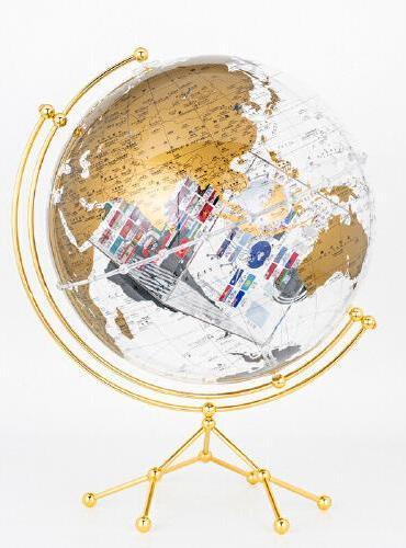 博目地球仪:35cm中英文金色政区圆方透明地球仪(水晶版)11-35-71