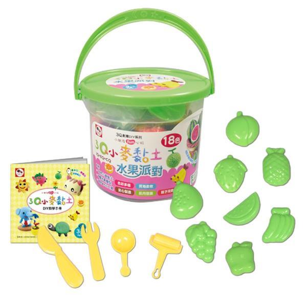 3Q小麥黏土:水果派對(桶裝18色)(內附小麥黏土18色+8款水果模型+4款DIY小工具+DIY教學手冊1本)