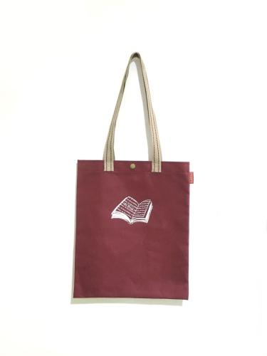 新學林「就是愛讀書」合成帆布包(煙燻紅)